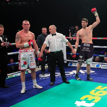23-11-13PHONES4U ARENA, MANCHESTER.PIC;LAWRENCE LUSTIGCommonwealth Super Middleweight ChampionshipROCKY FIELDING v LUKE BLACKLEDGEFielding celebrates stopping  BLACKLEDGE in the 1st rd
